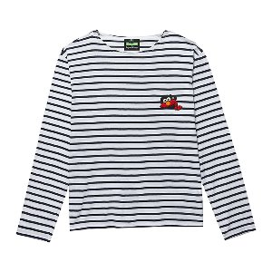 [B.C X S.S]HIDING ELMO STRIPE T-SHIRTS WHITE