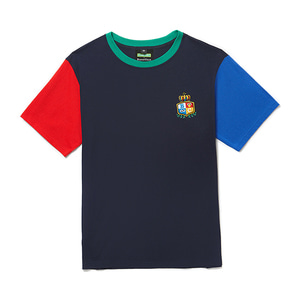[B.C X S.S]PREPPY LOGO COLOR BLOCK 1/2 T-SHIRTS NAVY