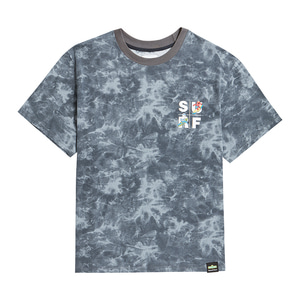 [B.C X S.S]SURF SQUARE GRAPHICS TIE-DYE 1/2 T-SHIRTS BLACK