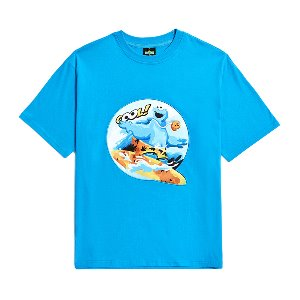 [B.C X S.S]COOKIE MONSTER SURFER PATCH 1/2 T-SHIRTS BLUE