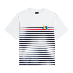 [B.C X S.S]HIDING COOKIE MONSTER STRIPE 1/2 T-SHIRTS WHITE