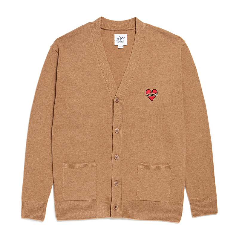 NOMANTIC LOGO KNIT WOOL CARDIGAN BEIGE