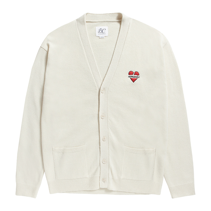 NOMANTIC LOGO KNIT WOOL CARDIGAN IVORY