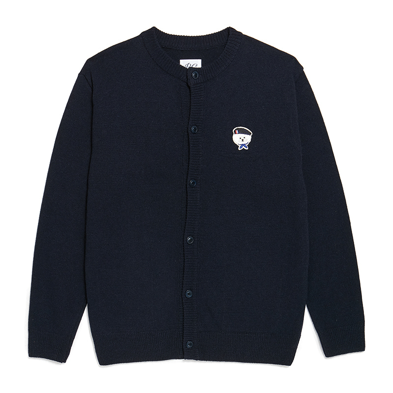 [S 10/11출고]ILP SIGNATURE PARIS LOGO ROUND KNIT CARDIGAN NAVY