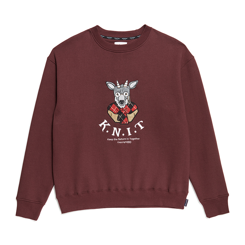 [기모][K.N.I.T]PREPPY APPLIQUE SWEAT-SHIRTS BURGUNDY