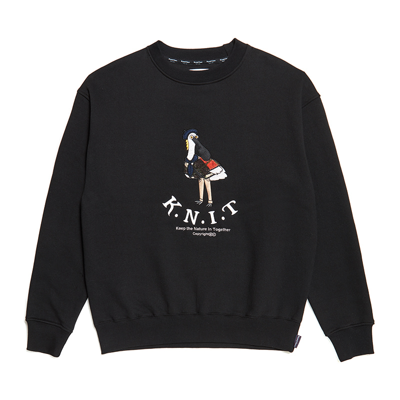 [기모][K.N.I.T]CLASSIC APPLIQUE SWEAT-SHIRTS BLACK