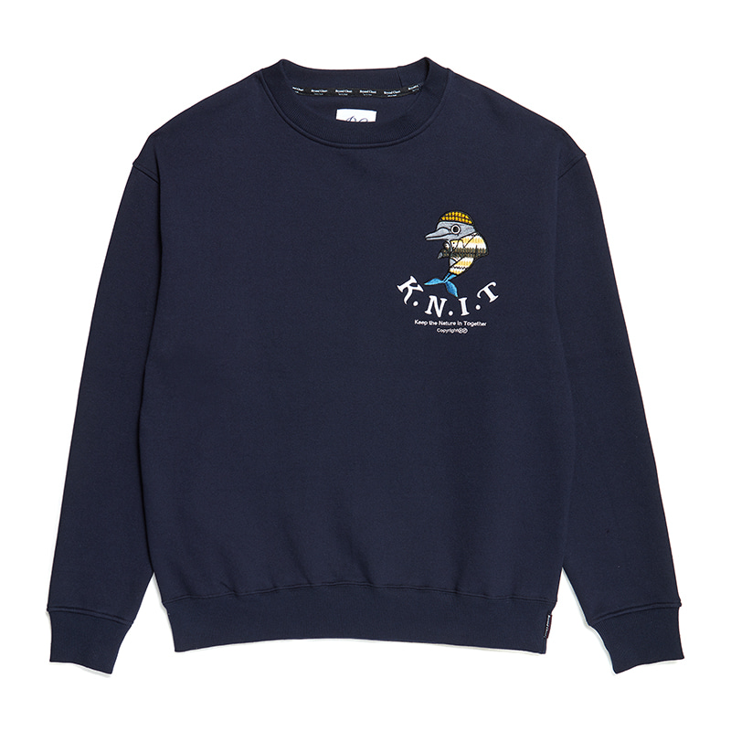 [기모][K.N.I.T]OLD SCHOOL APPLIQUE SWEAT-SHIRTS NAVY