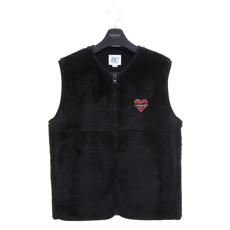 NOMANTIC LOGO ECO-FUR VEST ZIP-UP BLACK