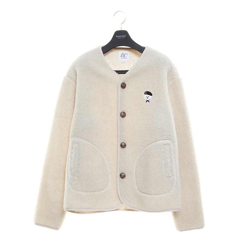 ILP SIGNATURE PARIS LOGO ECO-FUR CARDIGAN IVORY