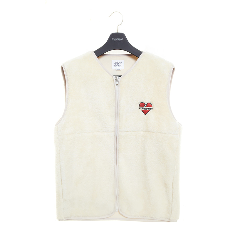 NOMANTIC LOGO ECO-FUR VEST ZIP-UP IVORY
