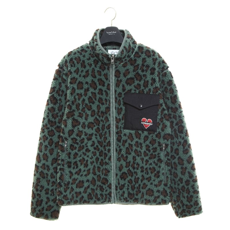 NOMANTIC LEOPARD ECO-FUR ZIP-UP GREEN
