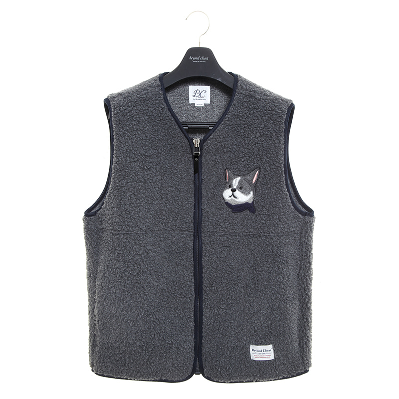ILP HQ WAPPEN ECO-FUR VEST ZIP-UP GRAY