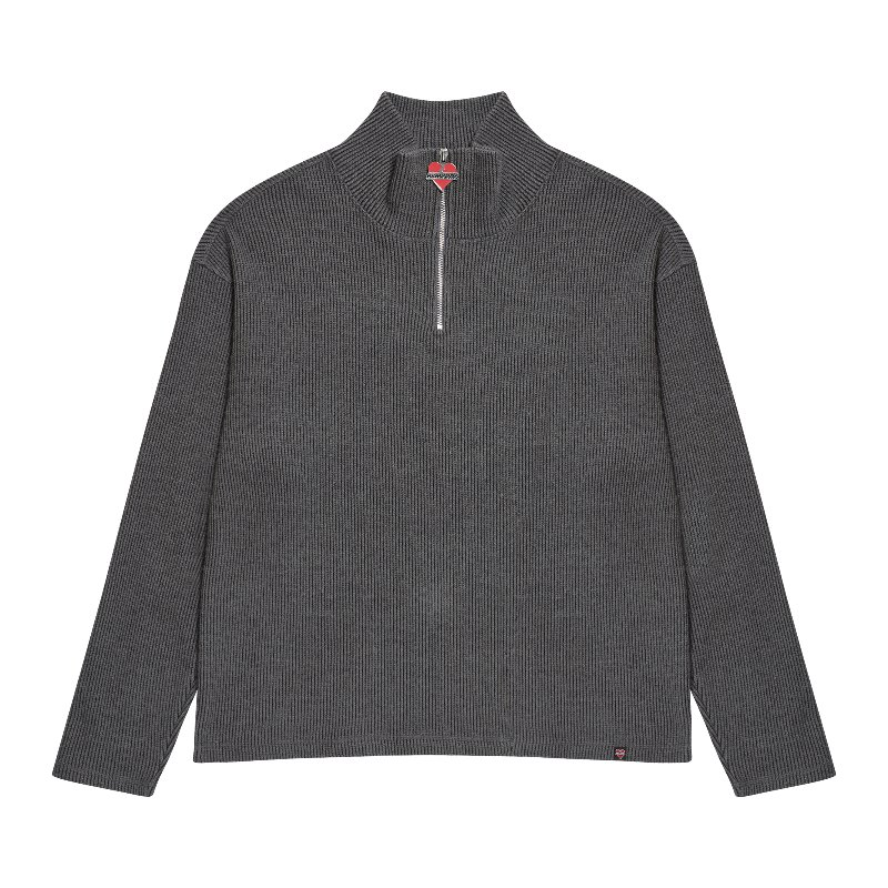 NOMANTIC ZIPPER POINT KNIT GRAY