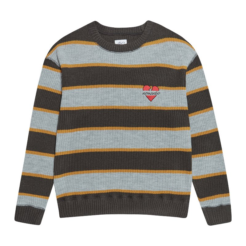 NOMANTIC MULTI STRIPE KNIT OLIVE