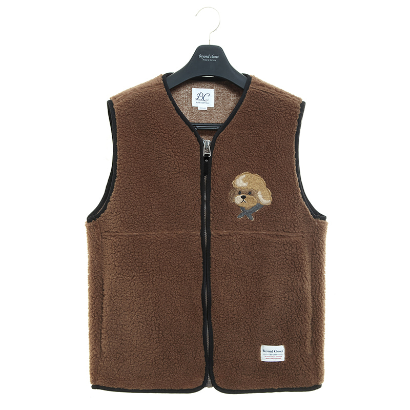 ILP HQ WAPPEN ECO-FUR VEST ZIP-UP CAMEL