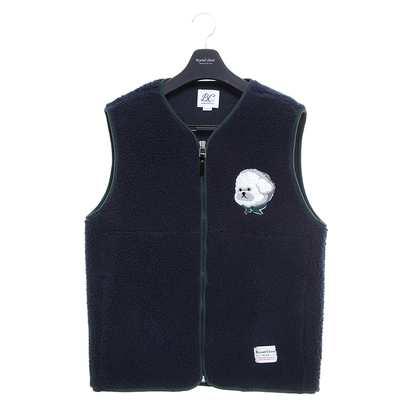ILP HQ WAPPEN ECO-FUR VEST ZIP-UP NAVY