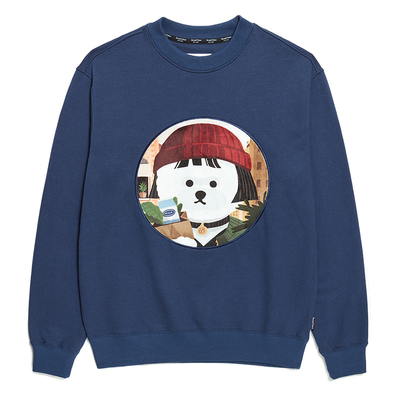 MOVIE WOMEN DOG PATCH SWEAT-SHIRTS 2020SS NAVY