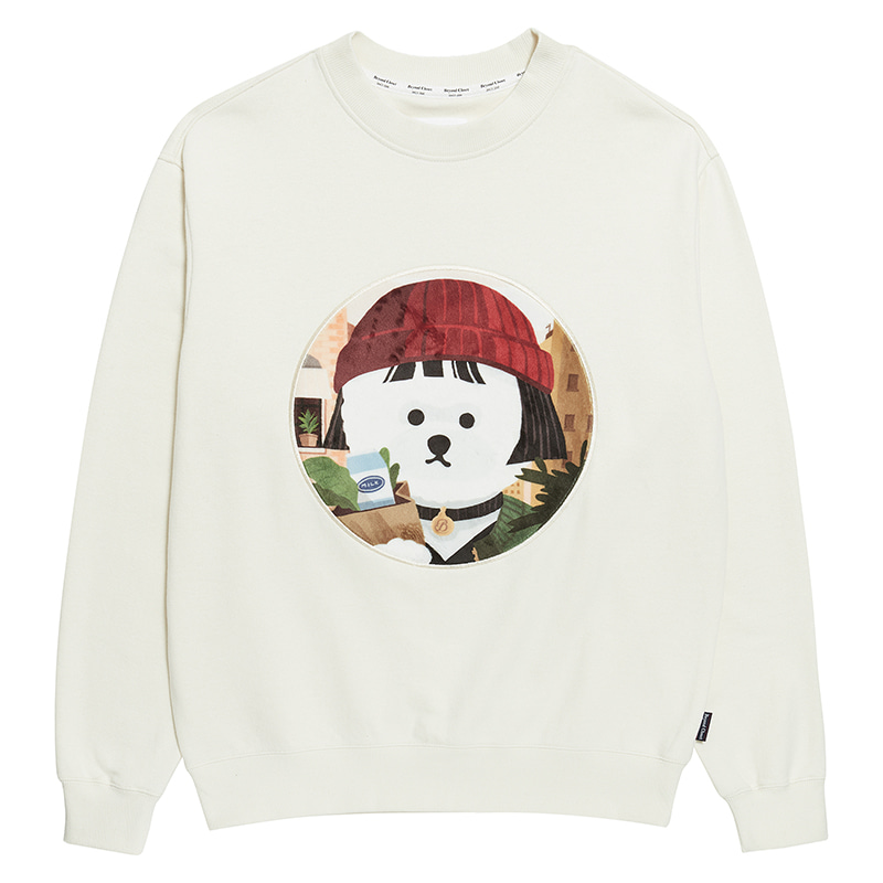 MOVIE WOMEN DOG PATCH SWEAT-SHIRTS 2020SS IVORY