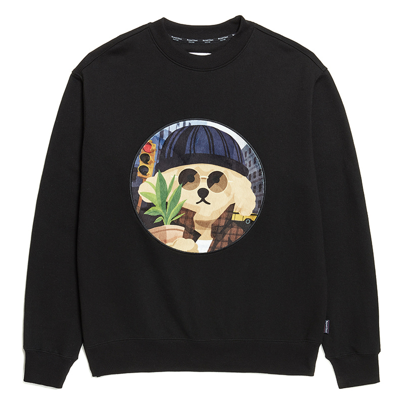 MOVIE MAN DOG PATCH SWEAT-SHIRTS 2020SS BLACK