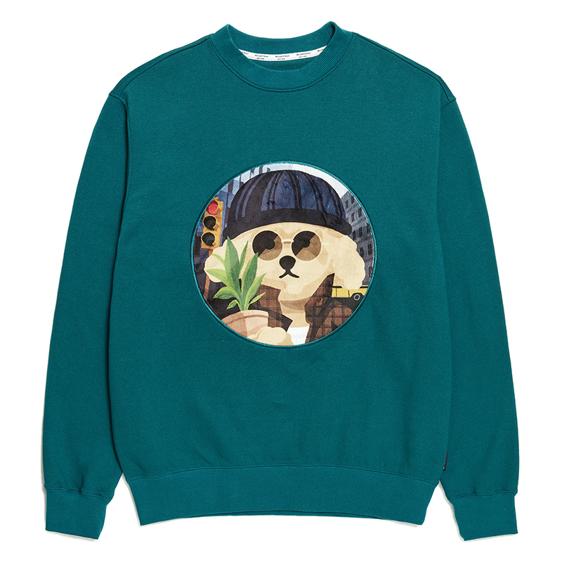 MOVIE MAN DOG PATCH SWEAT-SHIRTS 2020SS BISCAY GREEN