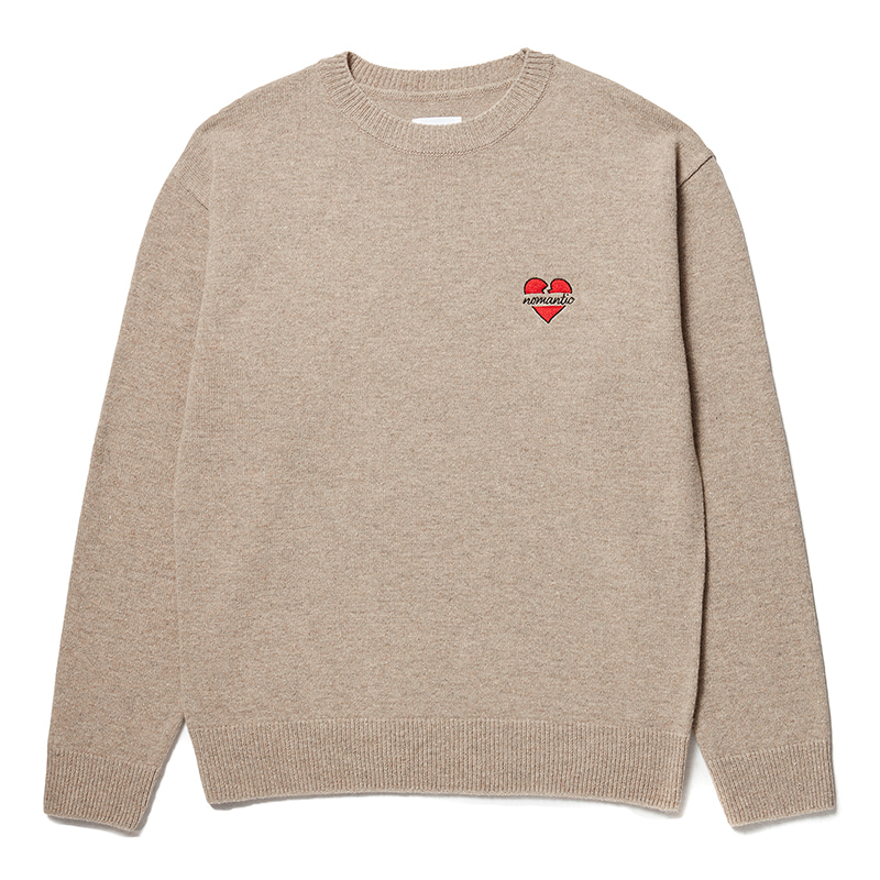 NOMANTIC LOGO WOOL BASIC KNIT BEIGE