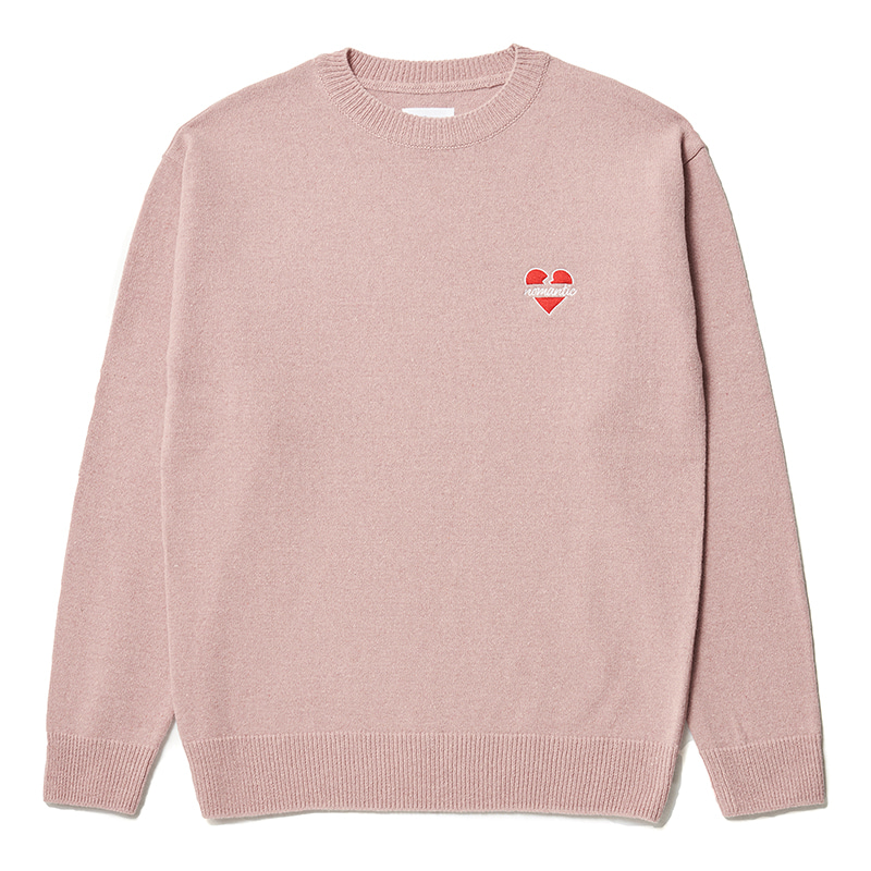 NOMANTIC LOGO WOOL BASIC KNIT CORAL PINK