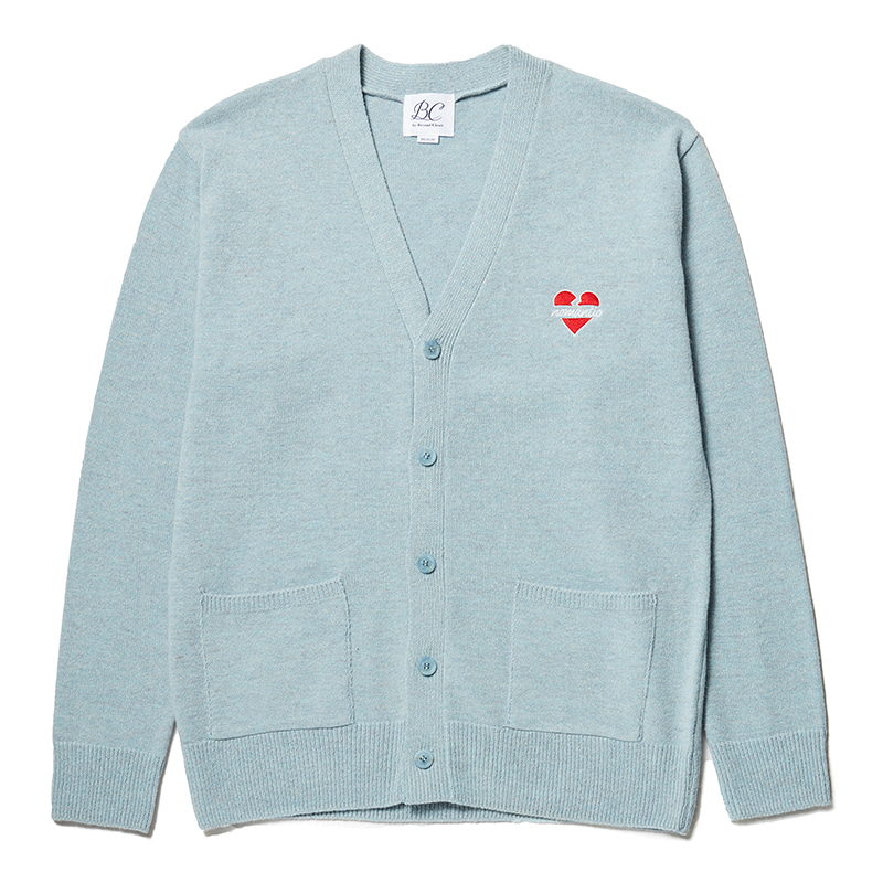 NOMANTIC LOGO KNIT WOOL CARDIGAN WASHED BLUE