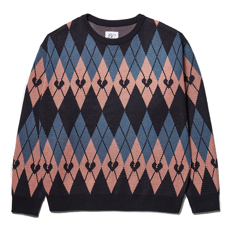 NOMANTIC NEW ARGYLE PATTERN KNIT PINK