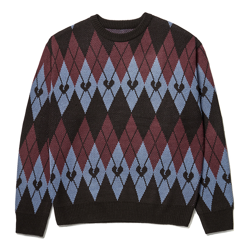 NOMANTIC NEW ARGYLE PATTERN KNIT BLUE