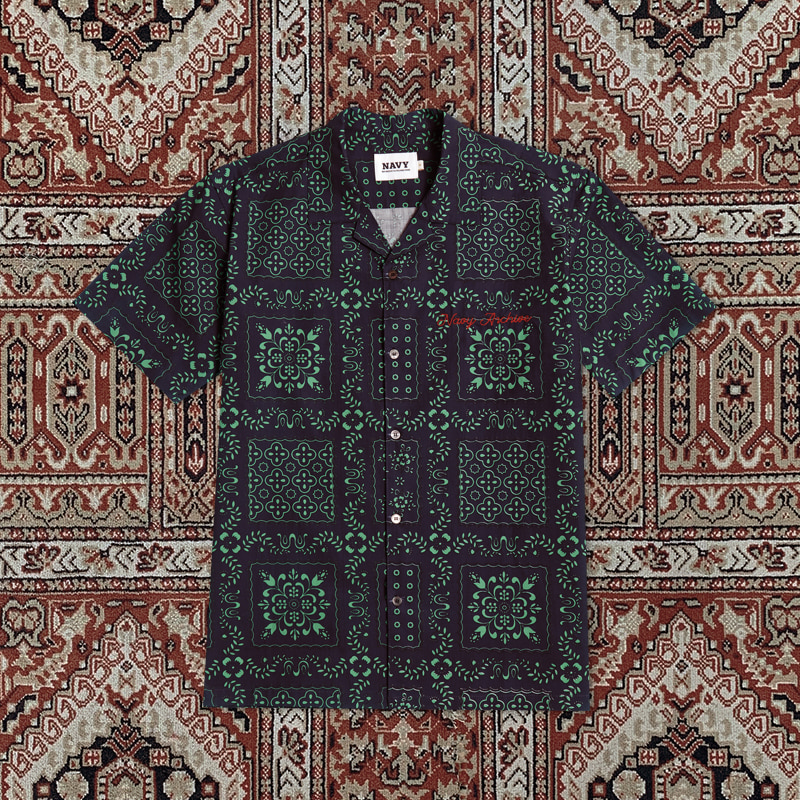 [20ARCHIVE]NEW ARCHIVE PAISLEY SHIRTS NAVY