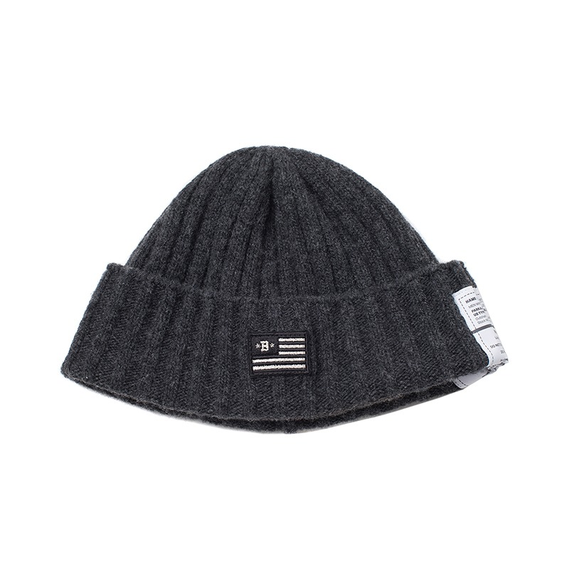 APOLLO COLLECTION FLAG LOGO WOOL BEANIE GRAY