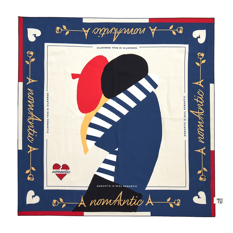 NOMANTIC PARISIEN LOVER SILKY SCARF NAVY