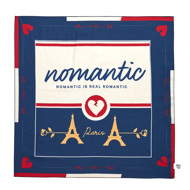 NOMANTIC PARISIEN SILKY SCARF NAVY