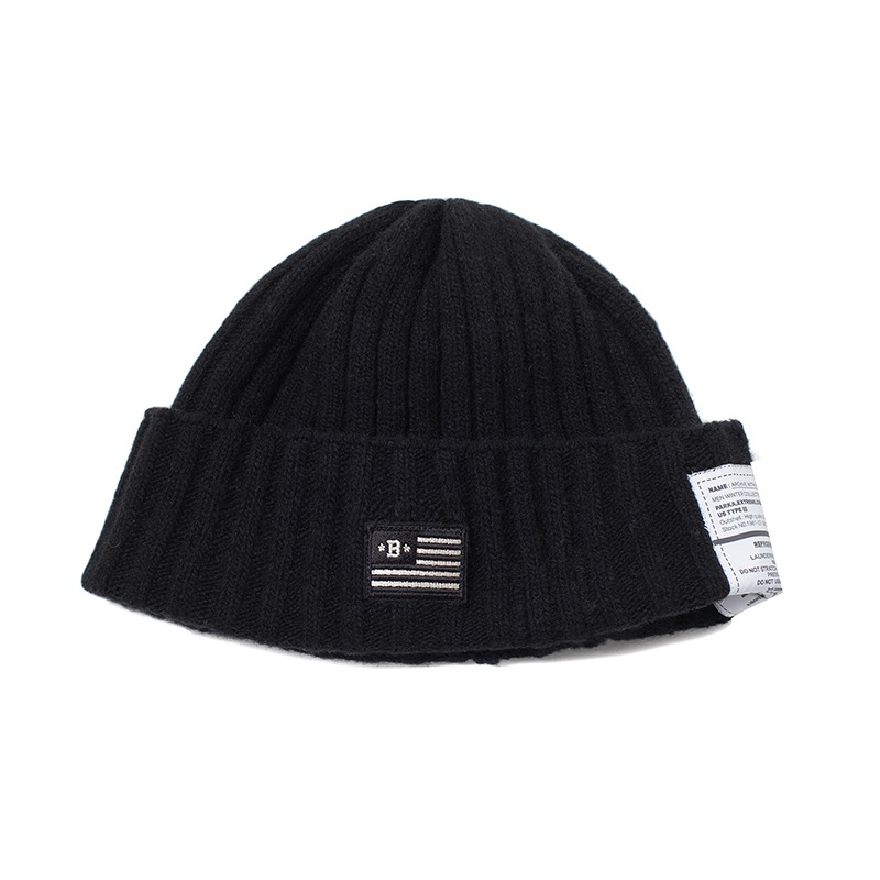 APOLLO COLLECTION FLAG LOGO WOOL BEANIE BLACK