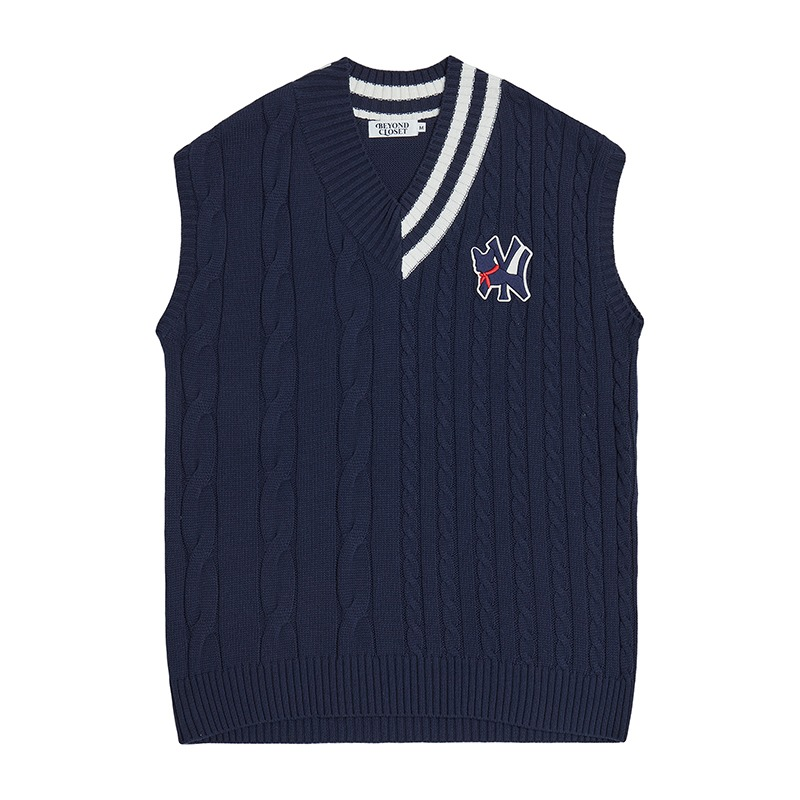 PARODY LOGO CABLE KNIT VEST NAVY