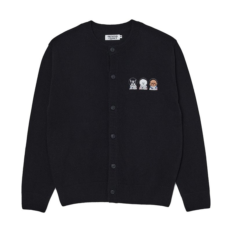 APOLLO COLLECTION CREW LOGO ROUND KNIT CARDIGAN BLACK