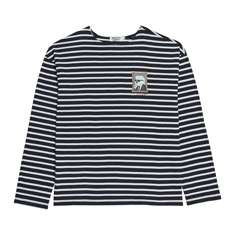 HOMMAGE STRIPE LONG SLEEVE T-SHIRTS BLACK