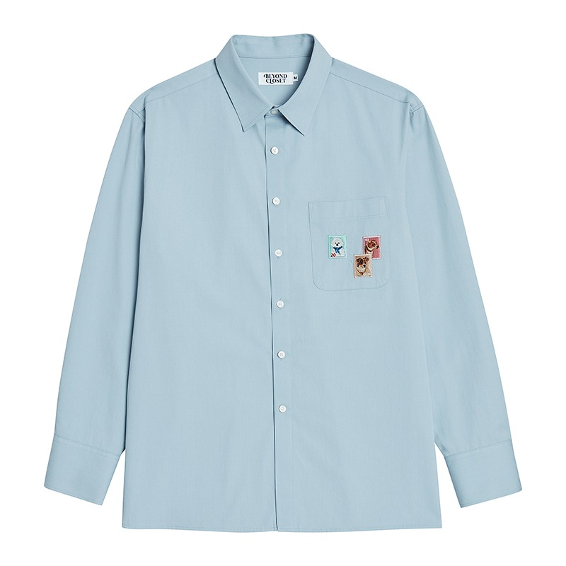 VINTAGE POST LOGO OVERSIZE SHIRTS SKY BLUE
